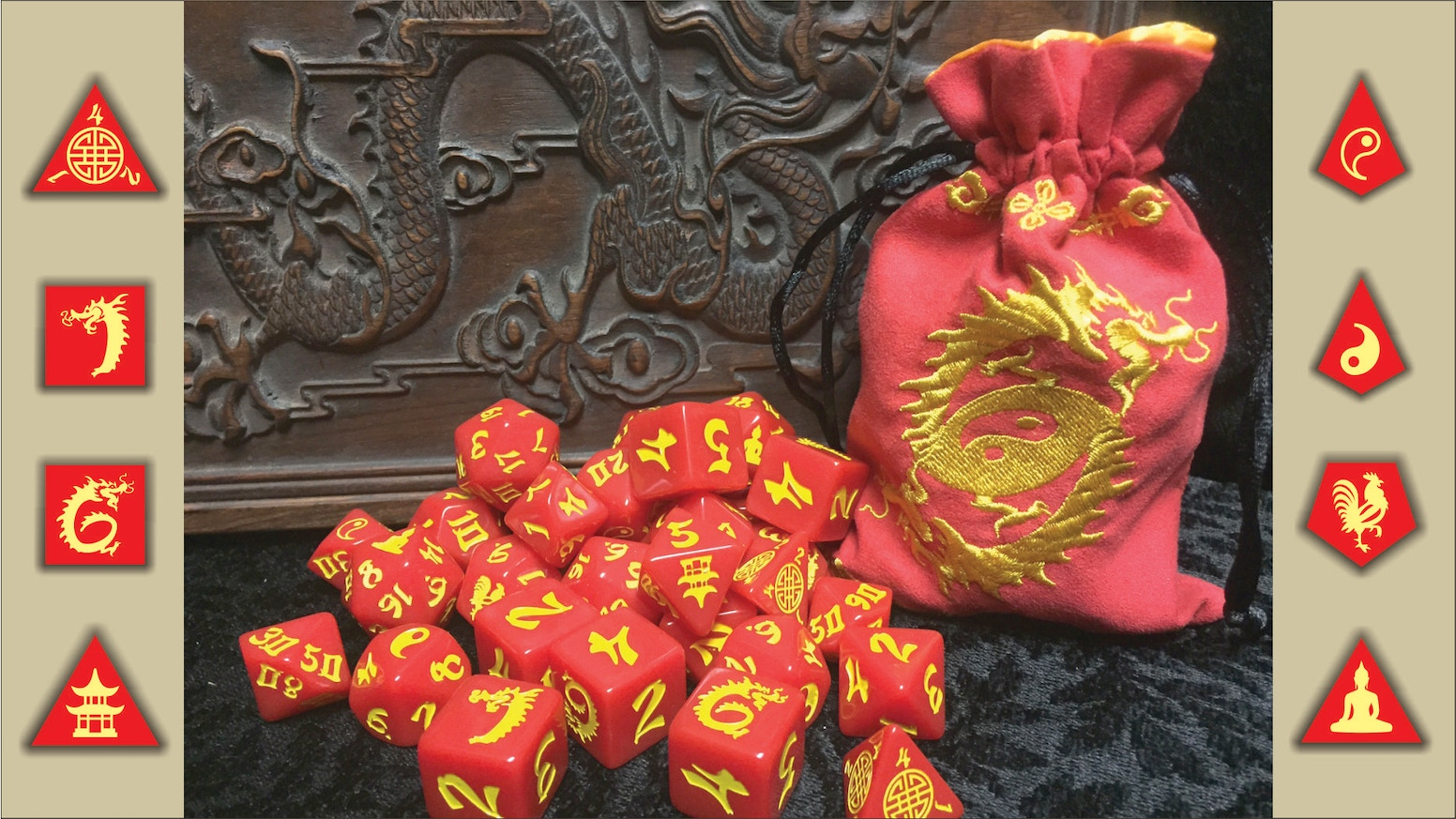 Enter the Double Dragons - our first RPG set! The set features two d6's with opposing dragon designs and an Old World China theme.