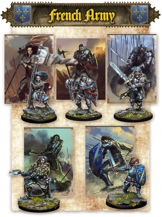 Joan Of Arc, Bertrand Du Guesclin, La Hire, Gilles de Rais & Jean de Dunois (miniatures are supplied assembled and unpainted)