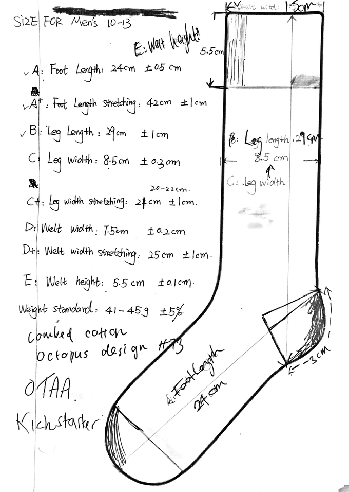 First step of the design process is the actual break down of what we want to achieve with the sock. We work out measurements, heights, compositions and rough design ideas of where we want to go with the process.