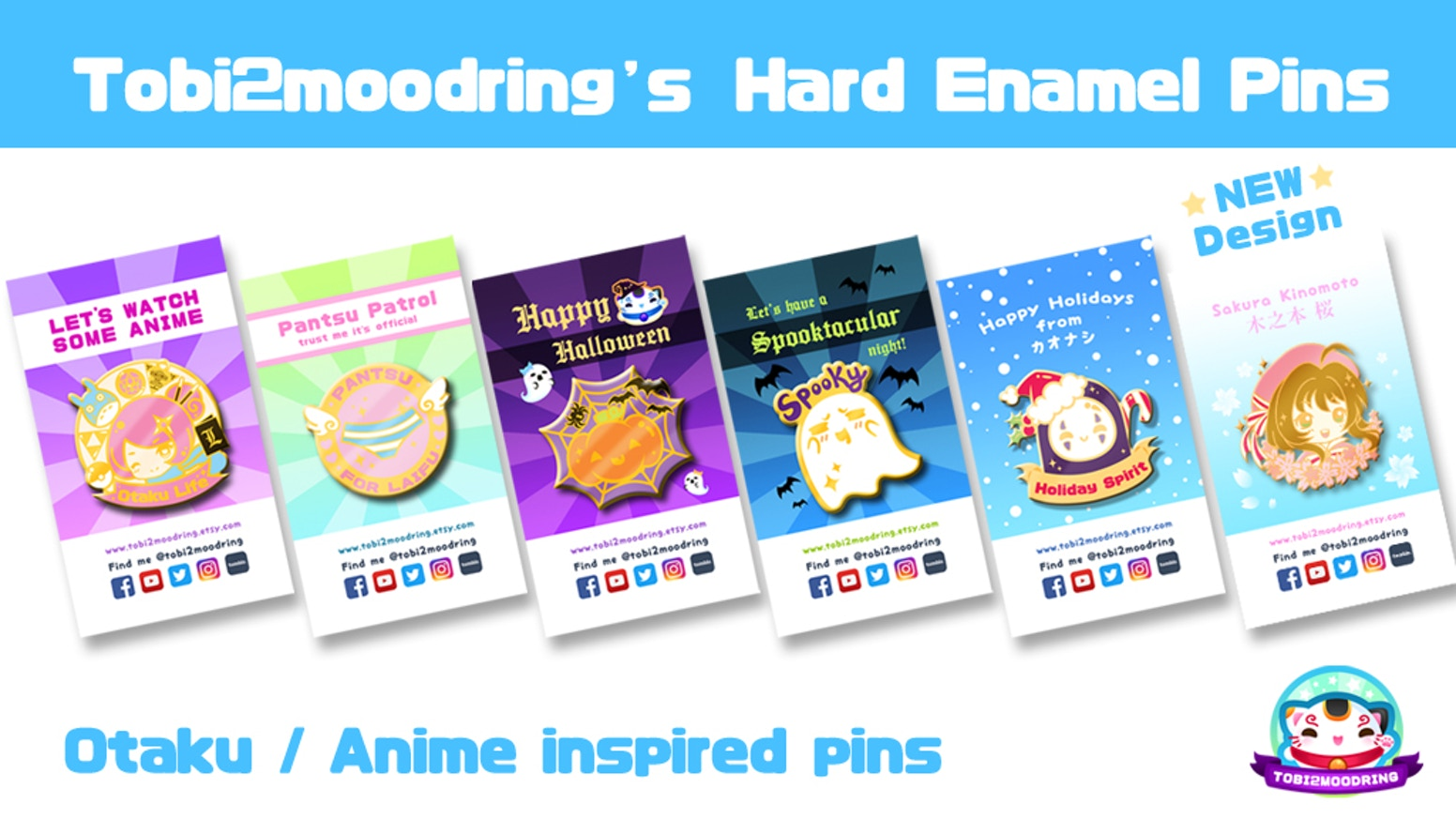 "Anime and otaku related 1.5"" hard enamel pins. 1 Design + 5 Stretch Goal Designs. *ALL GOALS REACHED* Follow me on social media to see updates!~"