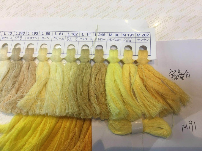 Choosing the right yellow for the sock fabrics. This is where we inspect which colour we will use with what design