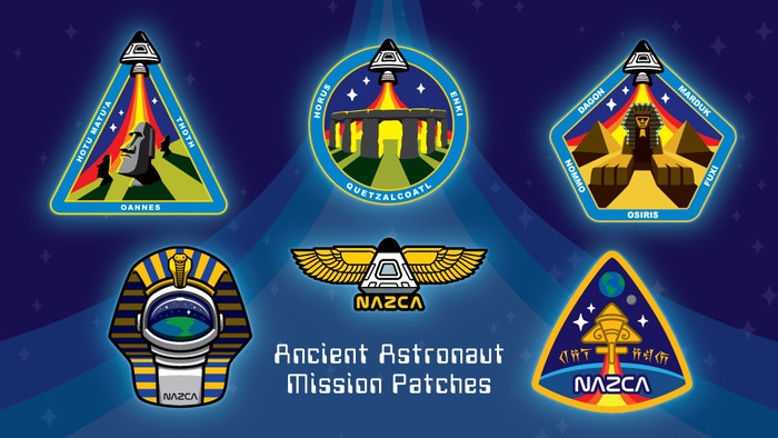 Ancient Astronaut space mission embroidered patches featuring Stonehenge, Easter Island Moai heads, Sphinx & pyramids as NASA-style insignia.