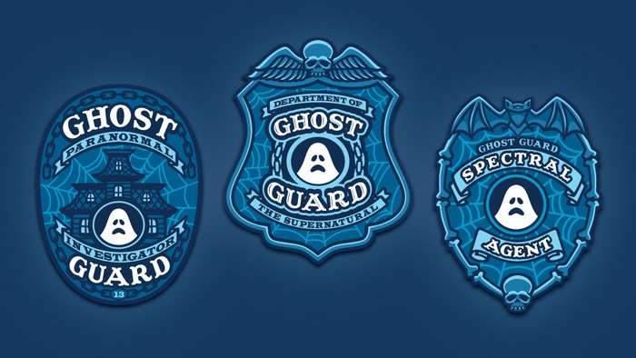 """""""Ghost Guard"""" — embroidered patches that glow-in-the-dark! Paranormal & supernatural fun. Enamel pin too!"""