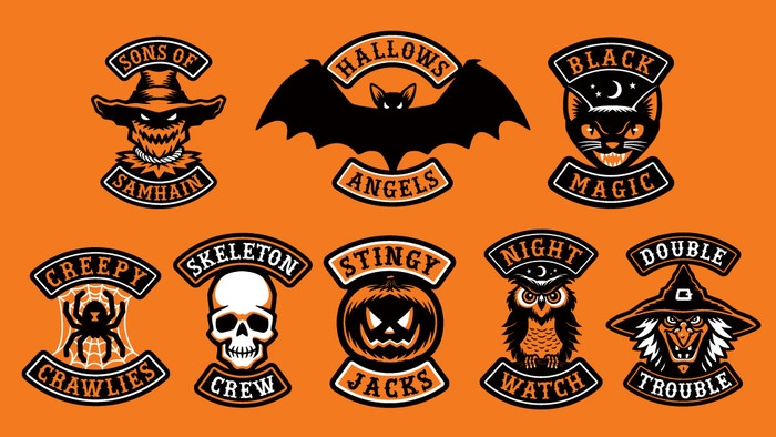 Halloween-themed motorcycle club/biker gang style embroidered patches. Skull, jack-o-lantern, witch, black cat, scarecrow, owl, bat & spider.
