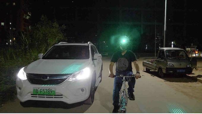 side laser falls on the car hood