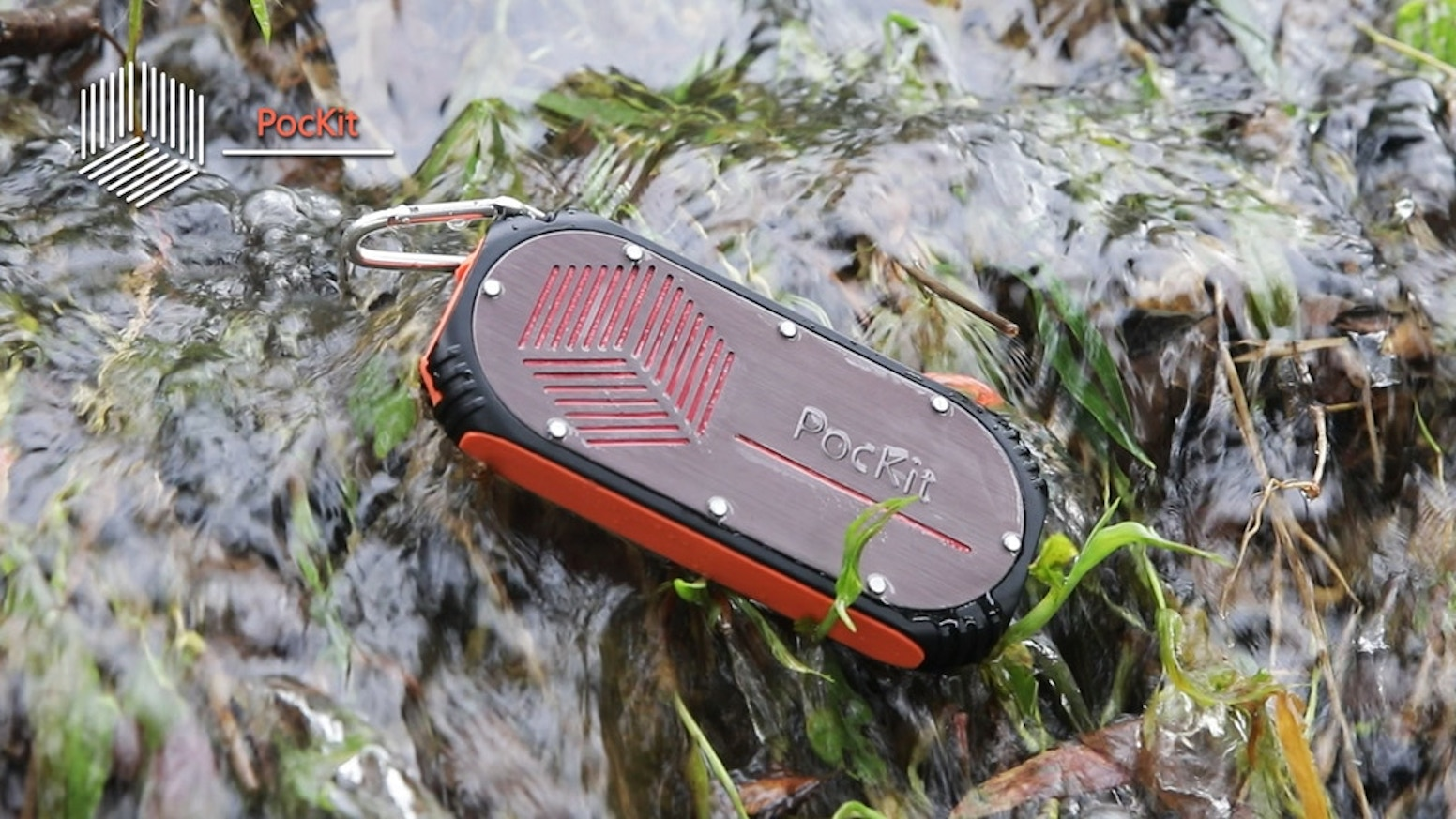 Compact, waterproof gadget with a built-in power bank, flashlight, speaker, and proximity tracker.