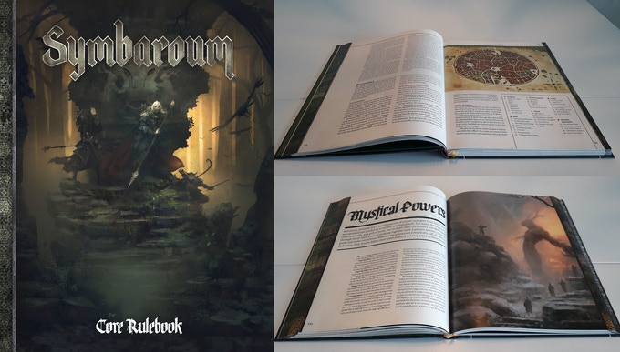 Cover and spreads from Origins Awards nominee, Symbaroum's Core Rulebook