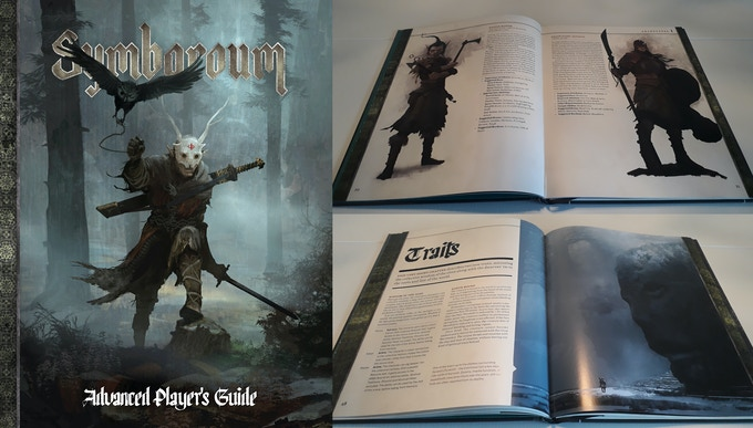 Cover and spreads from the ENnie nominee, Symbaroum's Advanced Player's Guide