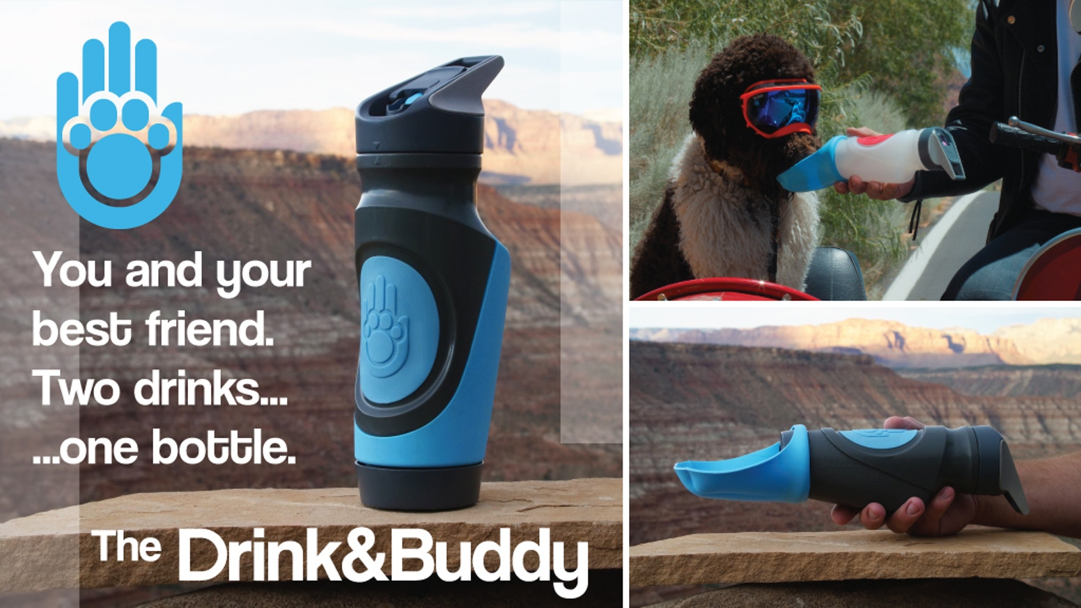 The world's first hygienic, multi-beverage water bottle that you can share with your pup!