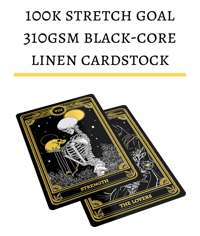 Mockup only - 310gsm black-core linen cardstock for the Marigold Tarot now unlocked, which will mean heavier and sturdier cards than the initial 280gsm blue-core
