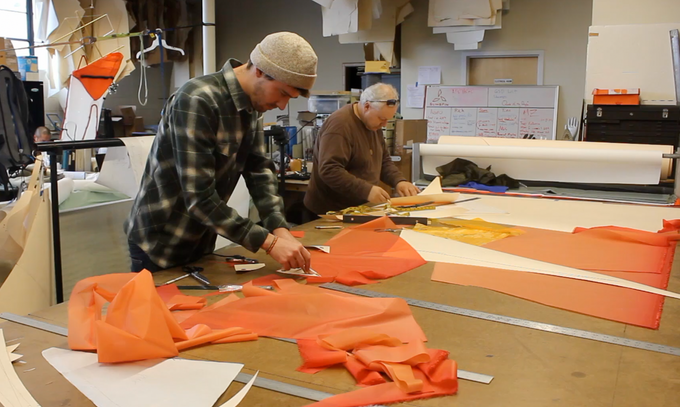 Members of the design team working on a shelter prototype at our Berkeley studio