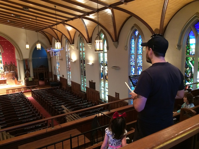 Flying a drone in Trinity Church for the documentary