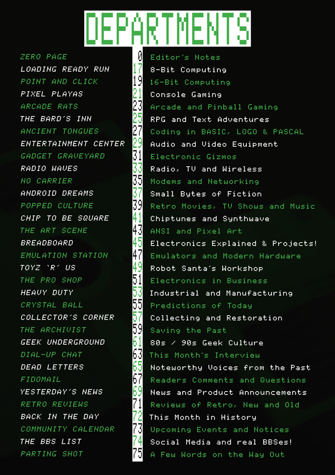 An index of the various departments that will feature in Paleotronic Magazine.