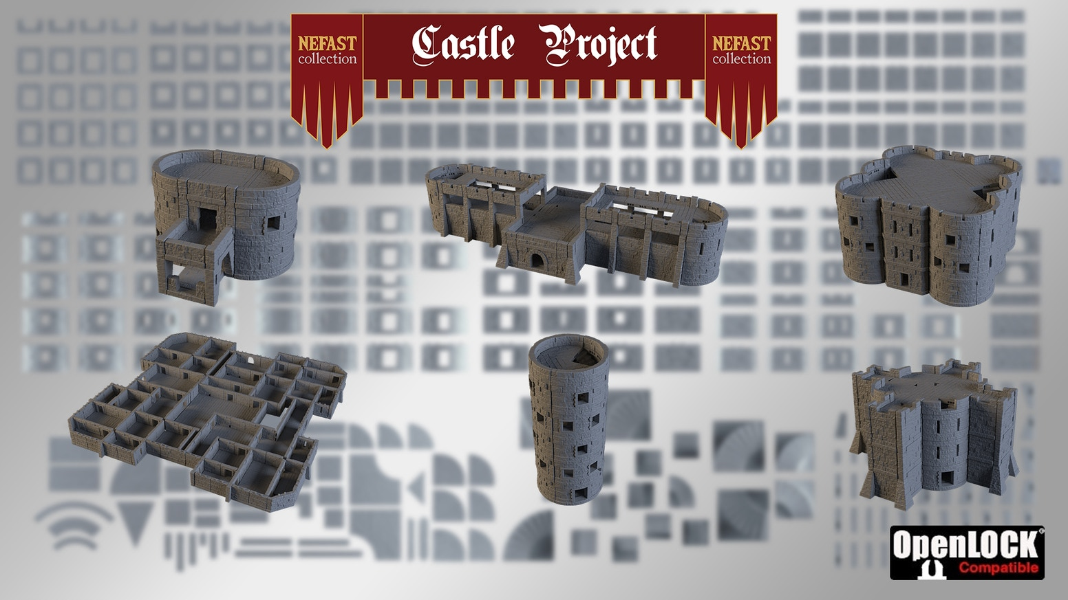 Castle Project is an OpenLOCK compatible modular castle, you get STL files and you print your buildings!