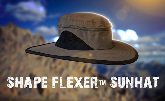 Shape Flexer is a bendable shape-able crush-able durable super portable machine washable waterproof extra wind resistant Mega Sun Hat.
