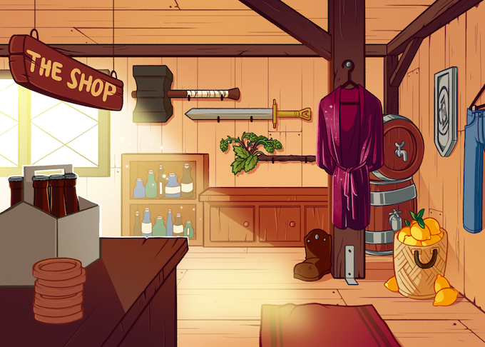 Shawna drew this warm and inviting shop card!