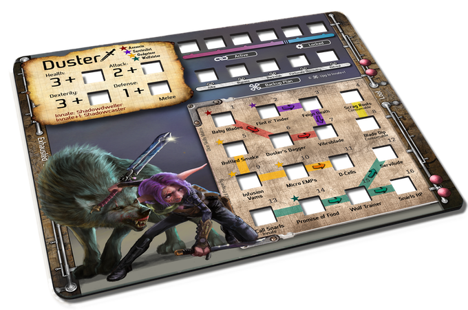 Duster's neoprene and die-cut Character Mat, which tracks all her Skill and Stat dice.
