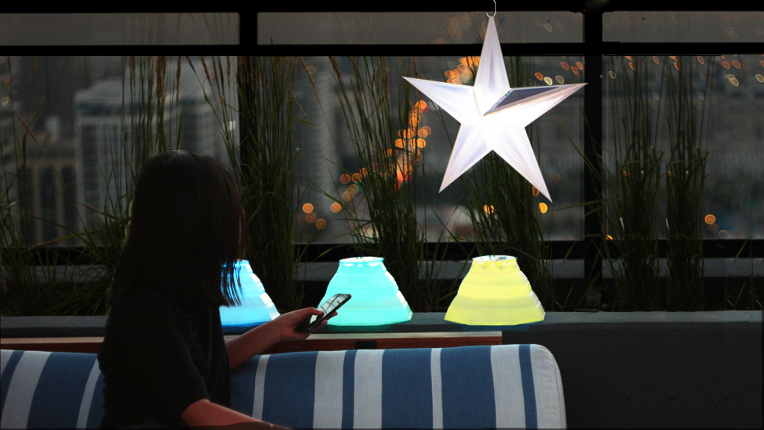 Transformable, origami-inspired, solar-powered lanterns for outdoor use. Control by Bluetooth to customize your garden illumination.