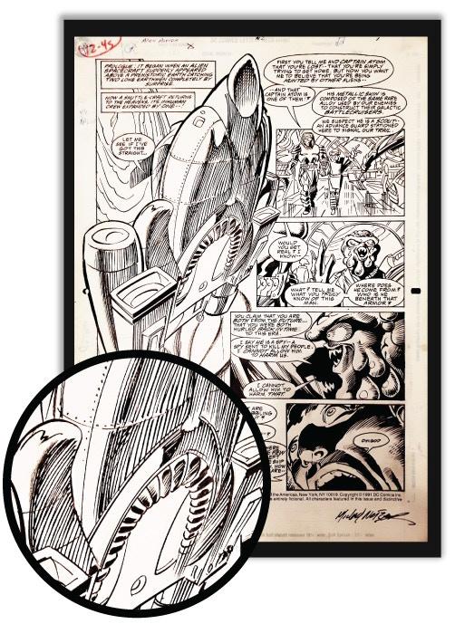 """ORIGINAL ART! This is an official DC Comics comic art page from legendary artist Michael Netzer for """"Alien Agenda #2"""", 1991."""