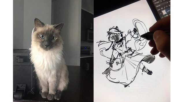 Angie Starr's (Twitter.com/Angie_Starr) pretty kitty Gypsy being transformed into an epic Cat Hero!