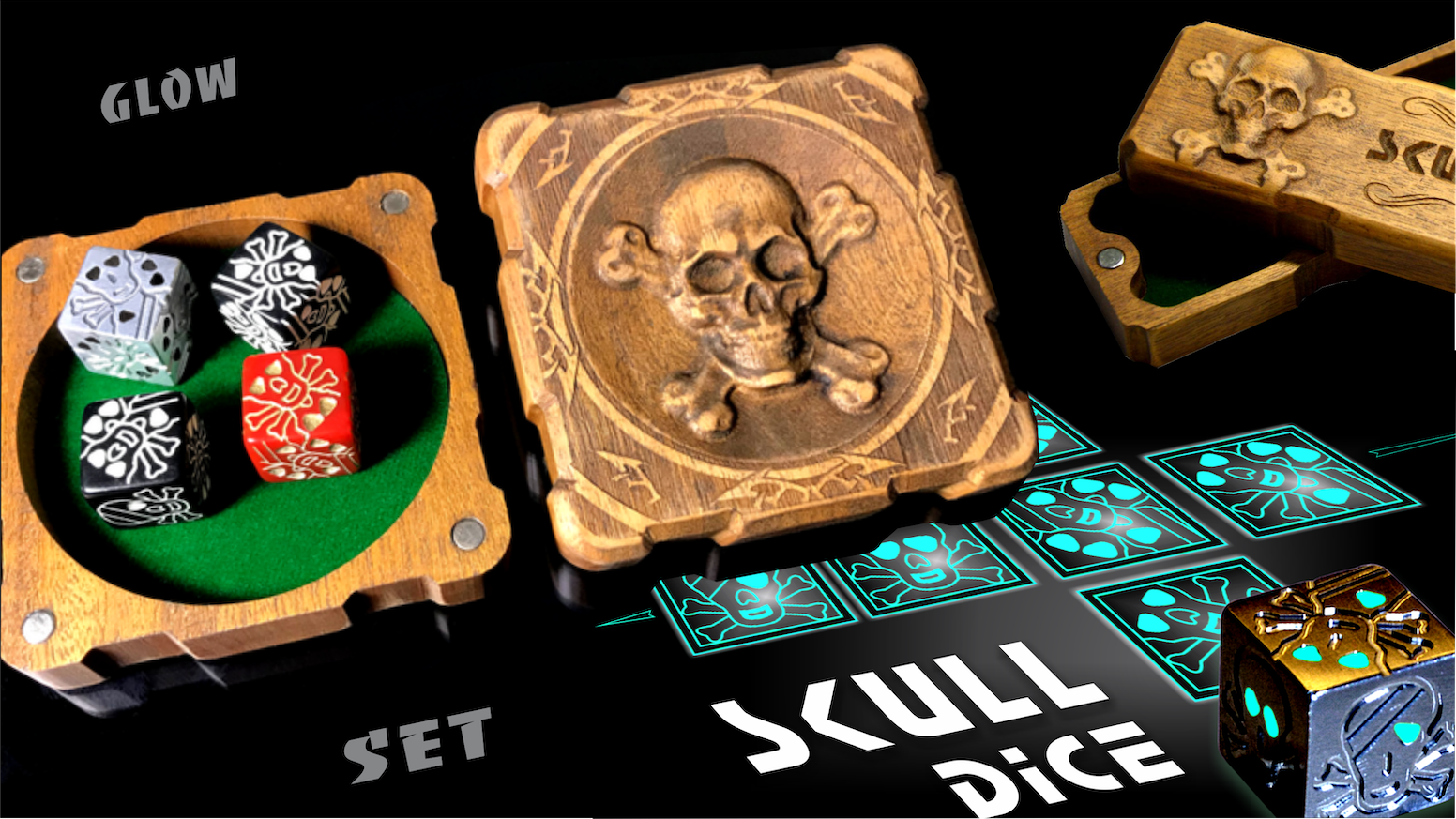 Collectible set with one-eyed skull in a wooden case. The combination of technology, rare materials and design for Board game fans