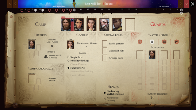 Rest comfortably with our Camp UI | Pathfinder: Kingmaker