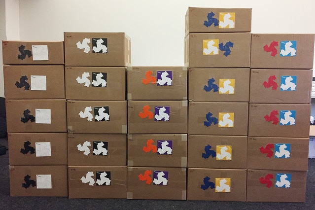 Prior to sorting, these boxes arrived at our office with 1700 boxes of over 100,000 Troxes