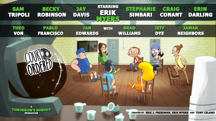 """Comedians get animated for Court Ordered. It's """"Beavis and Butt-Head"""" meets """"Dr. Katz"""" with the ensemble of """"Friends"""" on crack...some of them literally."""