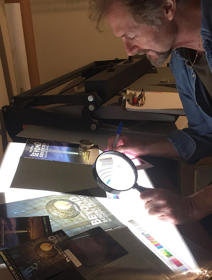 Michael Whelan Evaluating Cover Proofs In His Studio