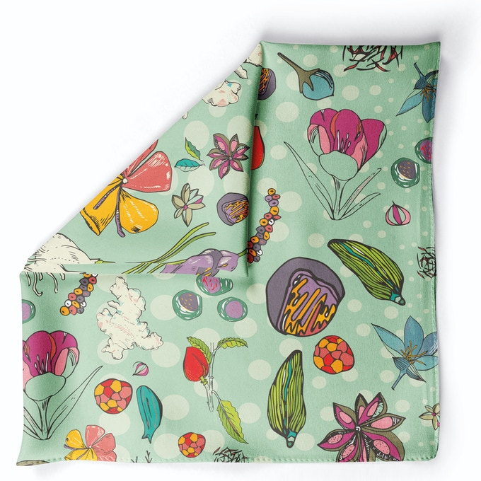 Spice Garden Green in Crepe Silk