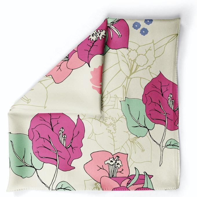 Bougainvillea Wistful Pink in Crepe Silk