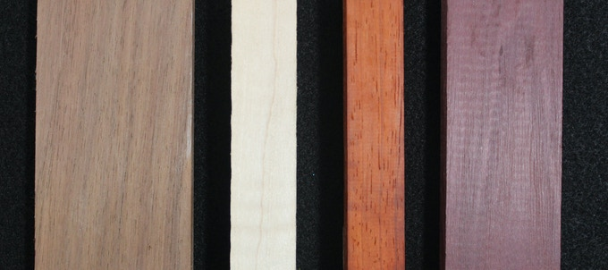 Walnut, Maple, Padauk, Purpleheart