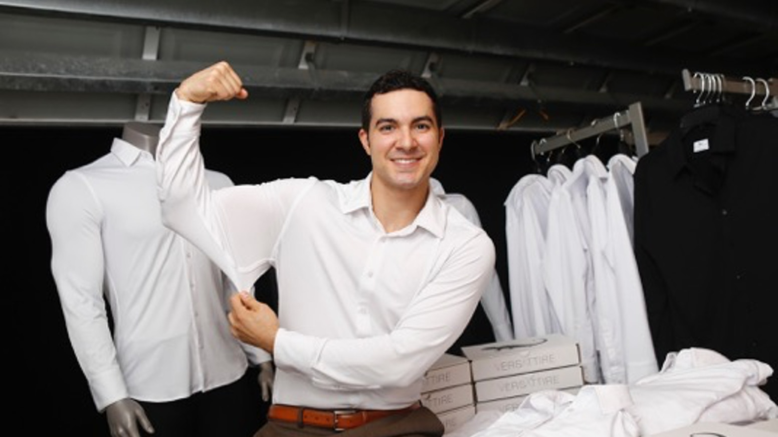 The first mainstream, versatile dress shirt that always stays tucked in, has an ultra 4-way stretch, and wicks away sweat.