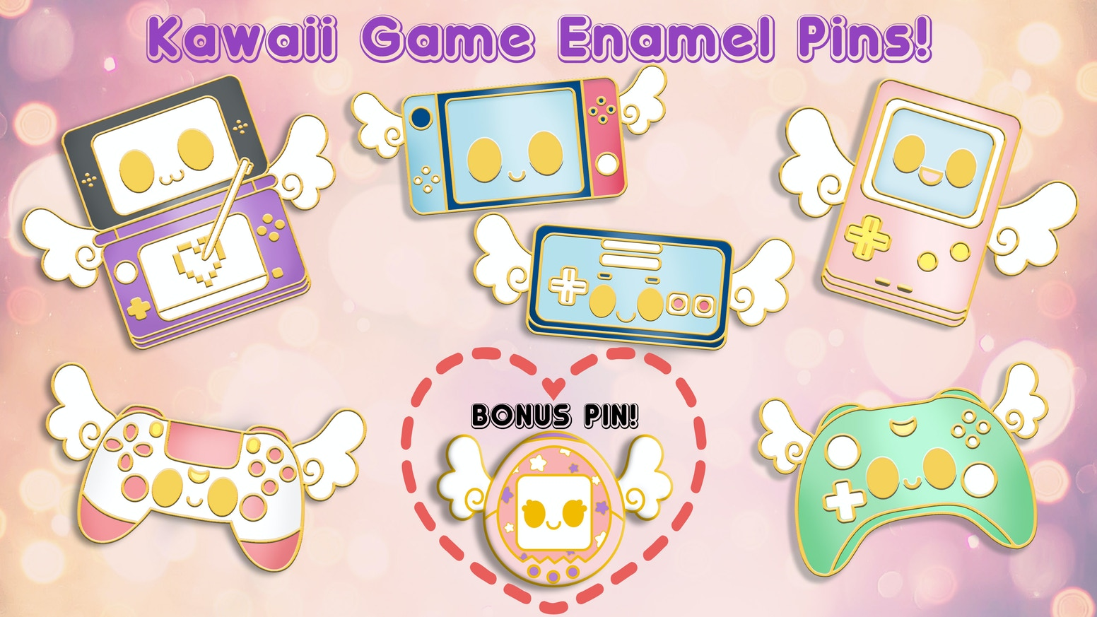Help create original kawaii magical game console pins to show off the gamer in you!