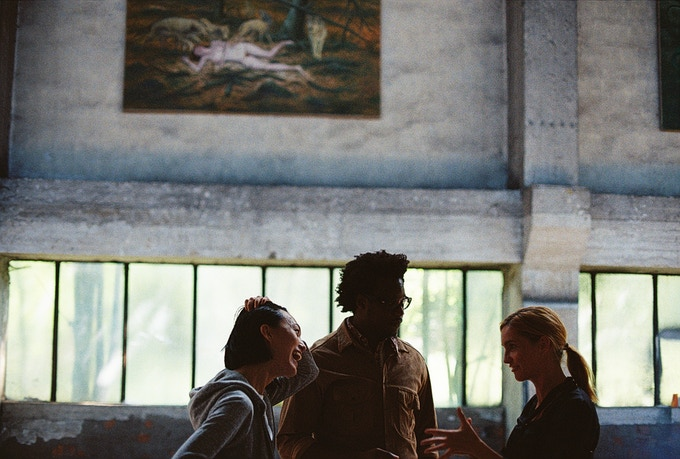 Mari Yamamoto, Alex Fondja, and Hana Vagnerova on set