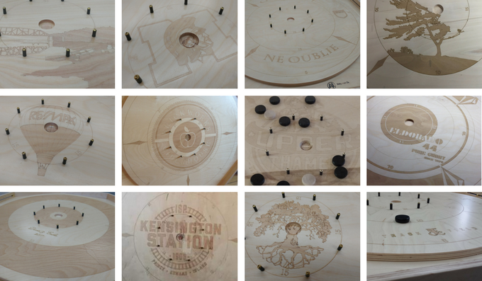 Crokinole | Wood tabletop game with built-in chip storage by