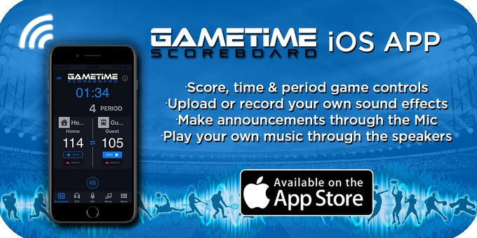 Control all features of the scoreboard with the free Gametime App