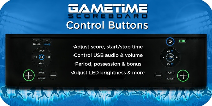Easy-to-press buttons control many features of Gametime