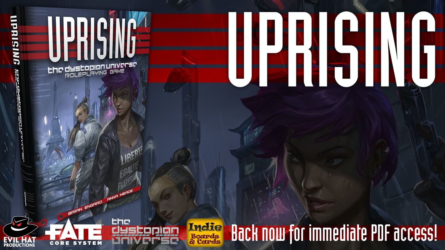 Rise up against the Corporations in this RPG set in the same world as The Resistance, Coup, and One Night Revolution.