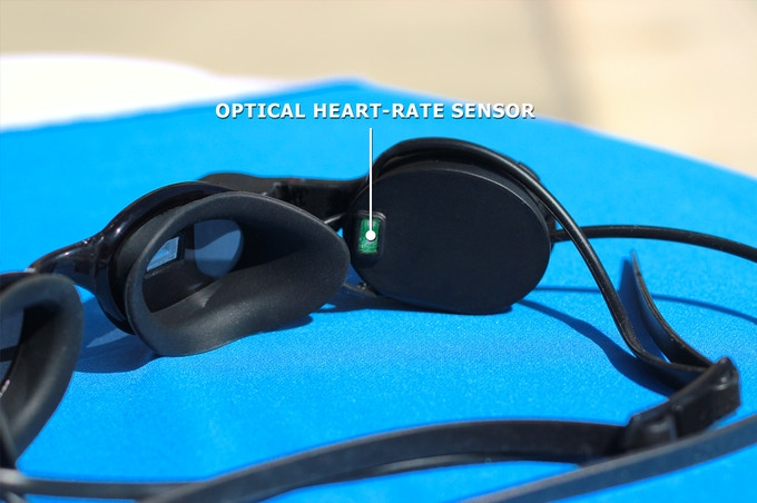 Heart-rate is captured from the temple with an optical HR sensor