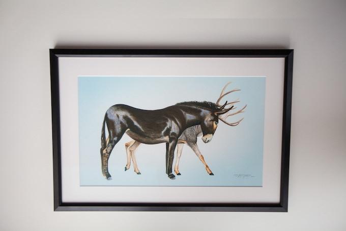 Framed original painting example - MuleDeer
