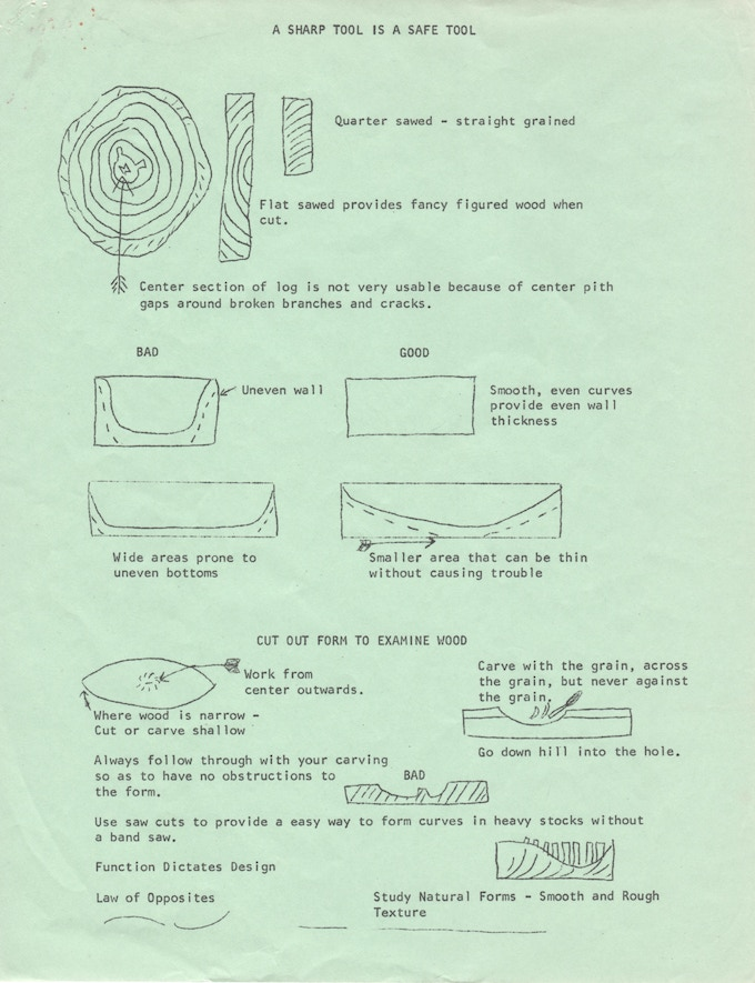 """A sample page from the """"Wood Carving"""" handout"""