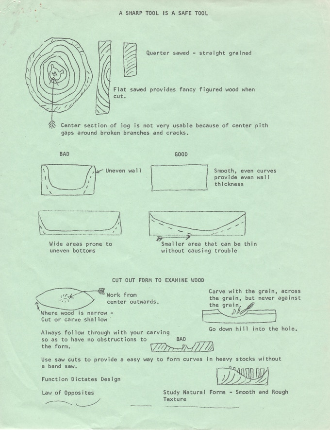 "A sample page from the ""Wood Carving"" handout"