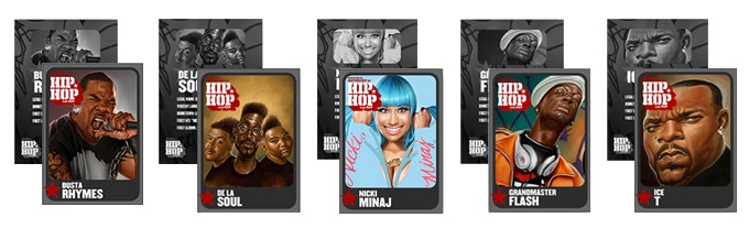 Set of illustrated hip-hop trading cards by artist Mike Thompson.