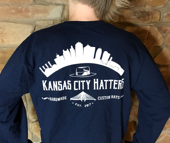 Campaign long sleeve shirt in dark blue (back view)