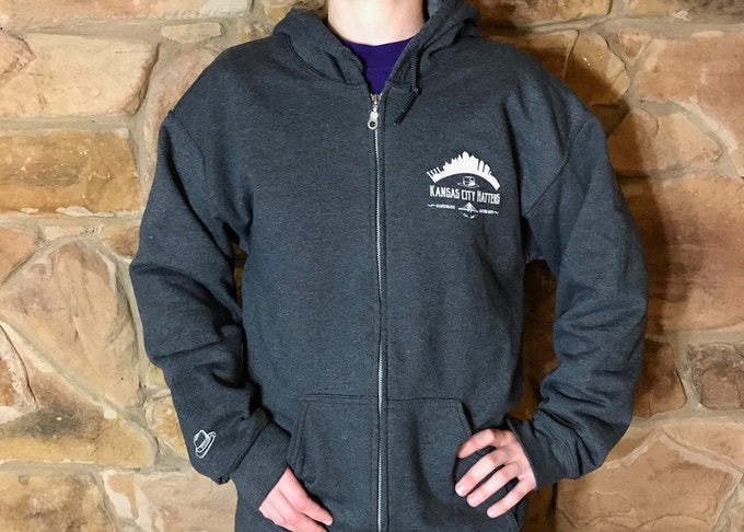 Campaign full zip hoodie in dark grey