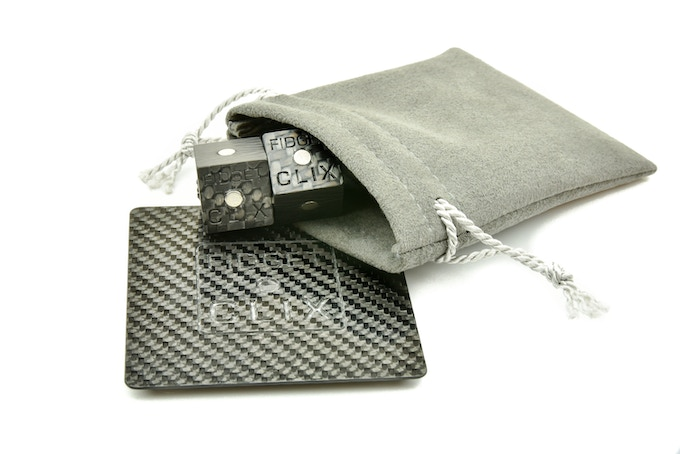 What you get with the FIDGET CLIX - Carbon, including a laser cut engraved solid carbon fiber coaster in a gift box.