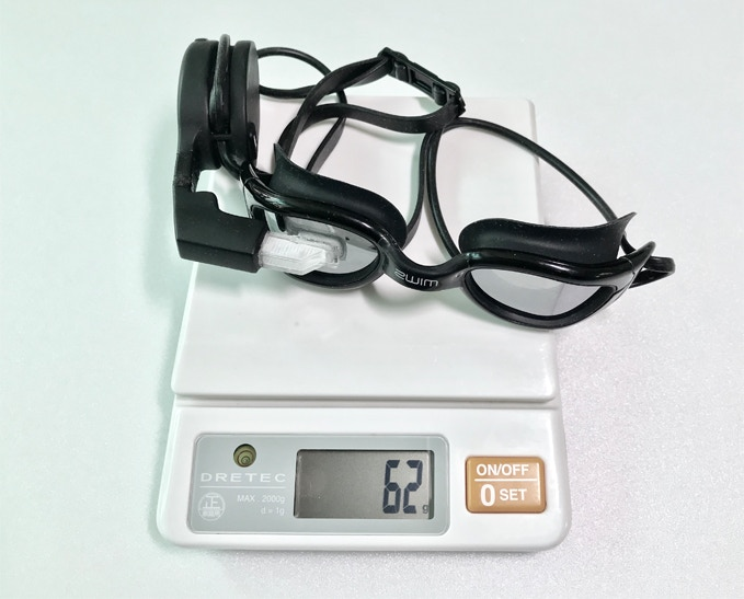 A pair of regular swimming goggles weighs between 32-38 grams. Note Zwim exceeds only by less than 30 grams.