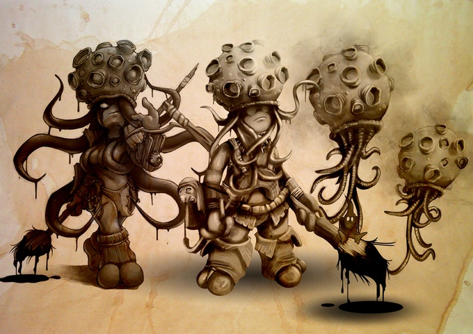 Color Quest Doomed Matriarch, Doomed Chief and Spores by Kev DC and Gius