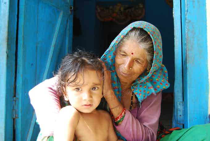 Jivanti Devi and her grandson, Chikalgaon Village